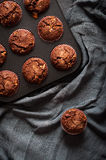 Chocolate muffins, flat lay Stock Images