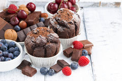 Chocolate muffins and fresh berries on white wooden table Royalty Free Stock Image
