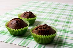 Chocolate muffins in the green wrappers, copy space Stock Photos