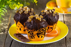Chocolate muffins on Halloween Stock Images