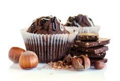 Chocolate muffins with hazelnuts Stock Image