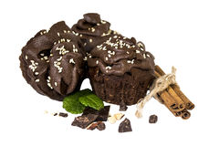 Chocolate muffins image with clipping path Royalty Free Stock Photos