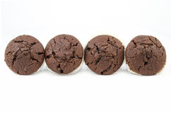 Chocolate muffins isolated on white. Sweet food - Dessert - Freshly baked chocolate chip muffins, isolated on white, in a row - American style Royalty Free Stock Image