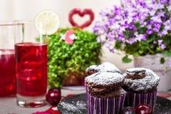 Chocolate muffins and lemonade Royalty Free Stock Image