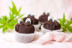 Chocolate muffins with edible eyes and marijuana leafs. Chocolate muffins with marijuana and edible eyes in paper holders Stock Photo