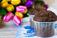 Chocolate muffins on a mother`s day in the flowers background. Chocolate muffins on the board written under gzhel Royalty Free Stock Images