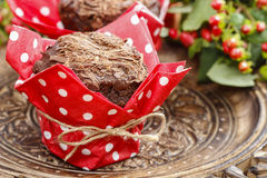 Chocolate muffins on party table Royalty Free Stock Images