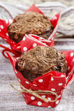 Chocolate muffins on party table Royalty Free Stock Image