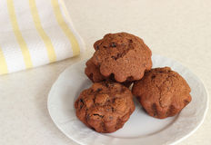 Chocolate muffins on a plate Royalty Free Stock Image
