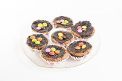 Chocolate muffins on plate Royalty Free Stock Images
