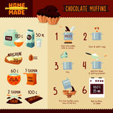 Chocolate Muffins Recipe Infographic Concept Stock Images