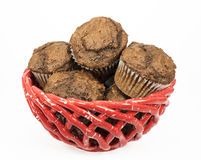 Chocolate Muffins in a Red Basket Royalty Free Stock Photo