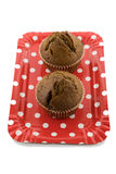 Chocolate muffins on the red plate on the white background Royalty Free Stock Photography