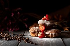 Chocolate muffins with strawberries and coffee sprinkled with powdered sugar. royalty free stock image