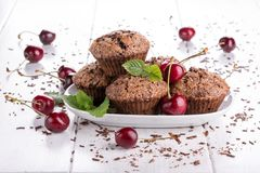 Chocolate muffins with sugar crust stock image