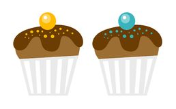Chocolate muffins vector cartoon illustration. Stock Images