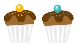 Chocolate muffins vector cartoon illustration. Stock Photos