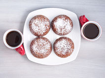 Chocolate muffins for winter dessert Stock Photo