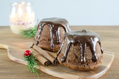 Chocolate muffin on wooden background. Stock Photography