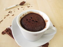 Chocolate mug cake in cup Stock Image