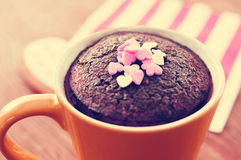 Chocolate mug cake, with a filter effect Royalty Free Stock Photography