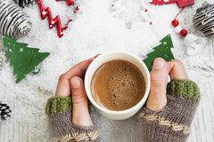 Chocolate Mug on Christmas Time, Hands Holding Hot Cocoa Cup Royalty Free Stock Images