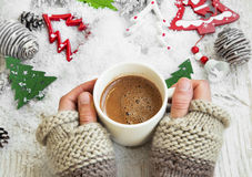 Chocolate Mug on Christmas Time, Hands Holding Hot Cocoa Cup Stock Images