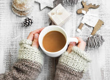 Chocolate Mug on Christmas Time, Hands Holding Hot Cocoa Cup Royalty Free Stock Photo