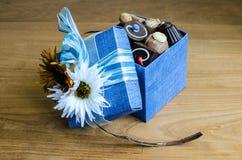 Chocolate na caixa azul Imagem de Stock Royalty Free