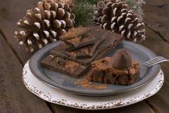 Chocolate na placa fotografia de stock royalty free