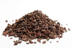 Chocolate Nibs. The raw chocolate nibs that will one day become our beloved chocolate stock photography