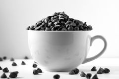 Chocolate not Coffee Black and White. Chocolate chips overflowing from a coffee mug Royalty Free Stock Photography