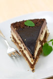 Chocolate - nougat pie with cream Stock Photography