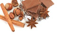Chocolate, nueces y especia Foto de archivo libre de regalías