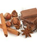 Chocolate, nueces y especia Foto de archivo