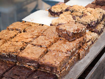 Chocolate Nut brownies. Different Chocolate Nut brownies at the market Royalty Free Stock Photo