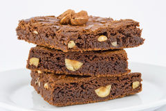 Chocolate nut brownies Stock Photos