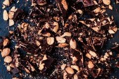 Chocolate / Nut Chocolate bar / chocolate background / Crushed B Royalty Free Stock Photos
