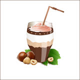 Chocolate, nut cocktail with a filbert. Vector illustration Royalty Free Stock Photos
