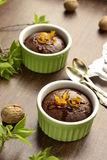 Chocolate and nut pudding Stock Image