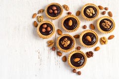 Chocolate Nut Tart  laid out in the shape of heart Royalty Free Stock Images