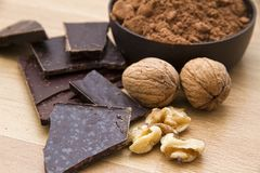 Chocolate with nuts Stock Photography