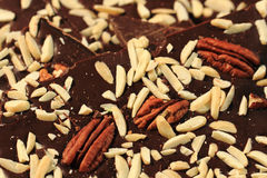 Chocolate with nuts and almonds Royalty Free Stock Photos
