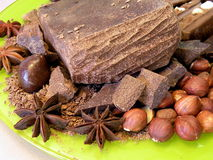 Chocolate , nuts and anise Stock Images