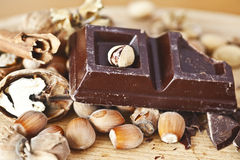 Chocolate and nuts Royalty Free Stock Image