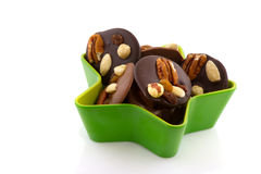 Chocolate with nuts for Christmas Royalty Free Stock Photos