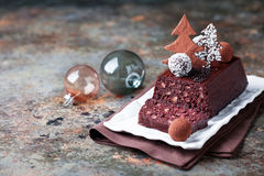 Chocolate and nuts Christmas cake Royalty Free Stock Image