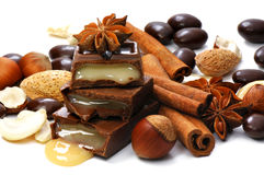 Chocolate, nuts, cinnamon Stock Images
