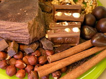Chocolate , nuts and cinnamon Stock Photo