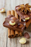 Chocolate with nuts, cinnamon sticks and anise star Royalty Free Stock Images